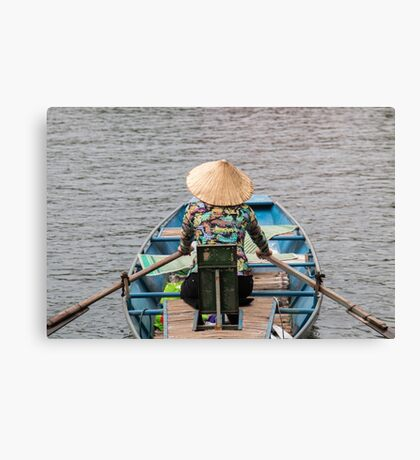 Vietnamese Lady Boat on Ngo Dong River Tam Coc Canvas Print