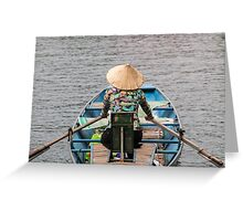 Vietnamese Lady Boat on Ngo Dong River Tam Coc Greeting Card