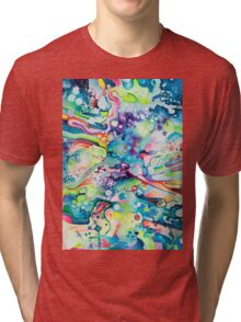 Parts of Reality Were Missing, But Which Parts? - Watercolor Painting Tri-blend T-Shirt