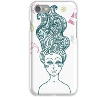 Mermaid with long curly hair iPhone Case/Skin