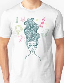 Mermaid with long curly hair Unisex T-Shirt