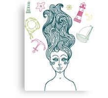 Mermaid with long curly hair Canvas Print