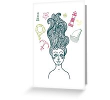 Mermaid with long curly hair Greeting Card