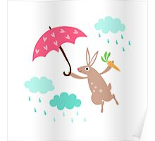Cute rabbit with heart umbrella and rain clouds wall art for children Poster