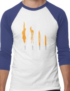 Flames of Science (Bunsen Burner Set) - Orange Men's Baseball ¾ T-Shirt