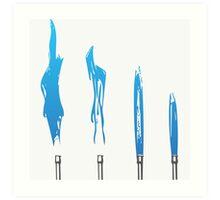 Flames of Science (Bunsen Burner Set) - Blue Art Print
