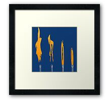 Flames of Science (Bunsen Burner Set) - Orange Framed Print