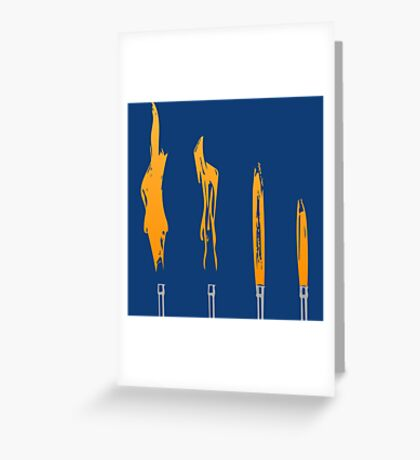 Flames of Science (Bunsen Burner Set) - Orange Greeting Card