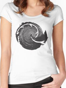 The Twilight Zone : BW // DJ Women's Fitted Scoop T-Shirt