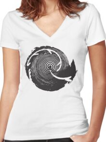 The Twilight Zone : BW // DJ Women's Fitted V-Neck T-Shirt