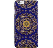 golden mandala pattern on the dark blue background iPhone Case/Skin