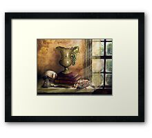 THE BOOKS BY THE WINDOW Framed Print