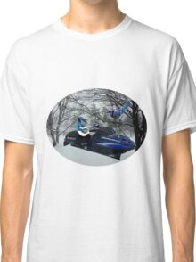 BLUE JAY ON ON SKI-DOO-- PLAYS GUITAR SERENADES MATE --VARIOUS FUN BLUE JAYS APPAREL... Classic T-Shirt