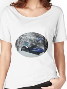 BLUE JAY ON ON SKI-DOO-- PLAYS GUITAR SERENADES MATE --VARIOUS FUN BLUE JAYS APPAREL... Women's Relaxed Fit T-Shirt