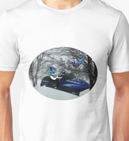BLUE JAY ON ON SKI-DOO-- PLAYS GUITAR SERENADES MATE --VARIOUS FUN BLUE JAYS APPAREL... Unisex T-Shirt