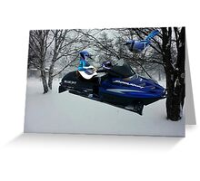 BLUE JAY ON ON SKI-DOO-- PLAYS GUITAR SERENADES MATE --VARIOUS FUN BLUE JAYS APPAREL... Greeting Card