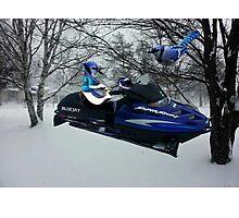 BLUE JAY ON ON SKI-DOO-- PLAYS GUITAR SERENADES MATE --VARIOUS FUN BLUE JAYS APPAREL... Photographic Print
