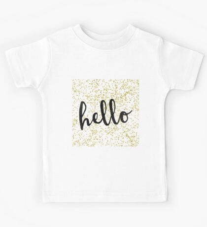 Gold Confetti Pattern with 'hello' quote Kids Tee
