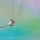 Little red ladybug on dew water droplet by Diana Hlevnjak