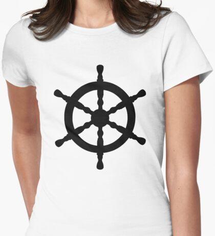 Nautical Ship's Wheel Womens Fitted T-Shirt