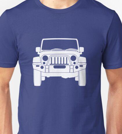 'Full Frontal' - Jeep Wrangler Bull Bar Tee Shirt Design - White Unisex T-Shirt