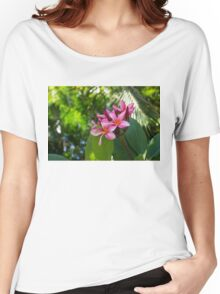 Tropical Paradise - Fragrant, Hot Pink Plumeria in a Lush Garden Women's Relaxed Fit T-Shirt