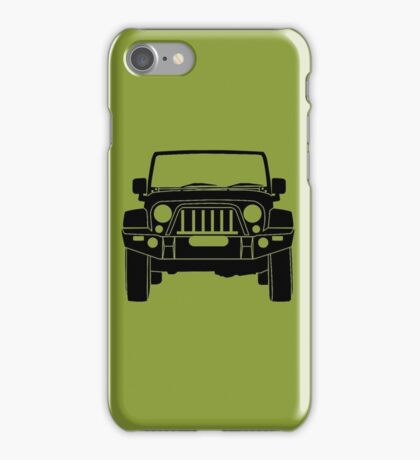 'Full Frontal' - Jeep Wrangler with Bull Bar Tee Shirt Design - Black iPhone Case/Skin