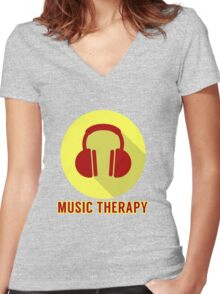 Music Therapy Women's Fitted V-Neck T-Shirt