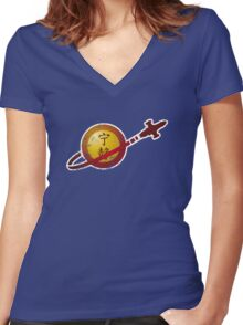 Serenity Logo (Lego Classic Space Homage) Women's Fitted V-Neck T-Shirt