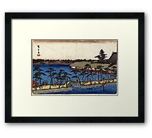 Benten Shrine Shinobazu Pond - Hiroshige Ando - 1837 - woodcut Framed Print