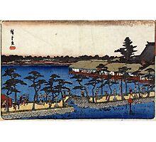 Benten Shrine Shinobazu Pond - Hiroshige Ando - 1837 - woodcut Photographic Print