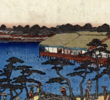 Benten Shrine Shinobazu Pond - Hiroshige Ando - 1837 - woodcut Sticker