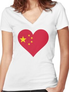 A heart for China Women's Fitted V-Neck T-Shirt