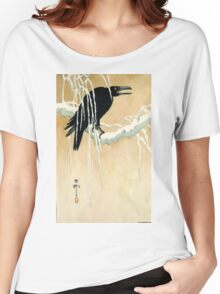 Blackbird In Snow - Koson Ikeda - 1867 - woodcut Women's Relaxed Fit T-Shirt