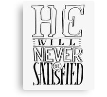Satisfied Typography Canvas Print