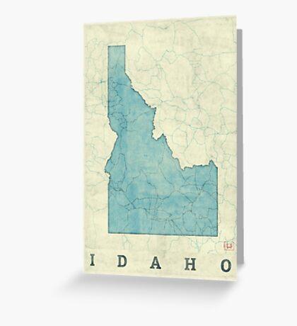 Idaho State Map Blue Vintage Greeting Card