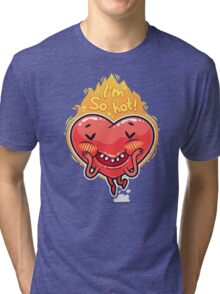 Cute Burning Heart for Valentine's Day Tri-blend T-Shirt