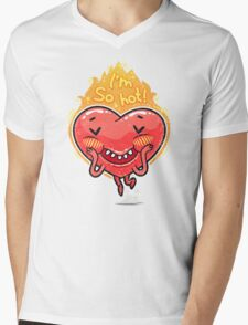 Cute Burning Heart for Valentine's Day Mens V-Neck T-Shirt