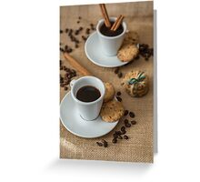 Homemade cookies , coffee and cinnemon om gray background Greeting Card