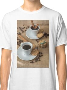 Homemade cookies , coffee and cinnemon om gray background Classic T-Shirt