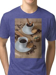 Homemade cookies , coffee and cinnemon om gray background Tri-blend T-Shirt