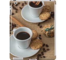 Homemade cookies , coffee and cinnemon om gray background iPad Case/Skin