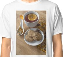 Tea,vegan cookies ,orange and anise on wooden background Classic T-Shirt