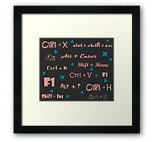 keyboard shortcuts darkgray pink Framed Print