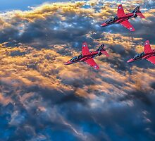 Red Arrows Above The Clouds by Paul Madden