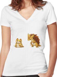 Pokemon Sandshrew Evolution Women's Fitted V-Neck T-Shirt