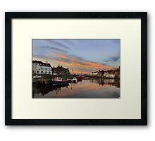 Whitby Harbour at Sunset Framed Print