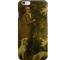 James Millar PORTRAIT OF A GENTLEMAN, HOLDING A GUN, TWO DOGS AND A PARTRIDGE AT HIS FEET, IN A WOODED LANDSCAPE JAMES MILLAR iPhone Case/Skin