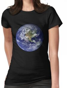 Blue Marble Womens Fitted T-Shirt