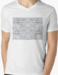Robin Toile de Jouy Inspired Pale Grey Mens V-Neck T-Shirt
